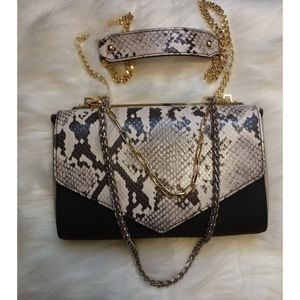 Snakeskin chained purse by express